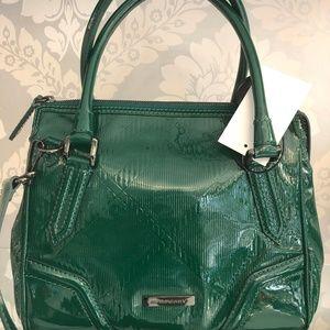 BURBERRY Veridian Grn Chk. Emb. Patent Anford Bag